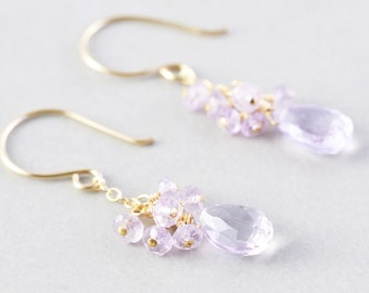 Purple Dangle Earrings, Amethyst Cluster Earrings, February Birthstone, Lavender Earrings
