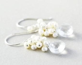 White Topaz Dangle Earrings, Pearl Cluster Earrings, June Birthstone, Bridesmaid Gift