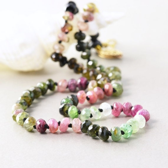 Tourmaline Necklace, Pink Green Hand Knotted Gemstone Necklace, October Birthstone