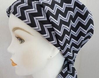 Dramatic Black White Chevron Cancer Chemo Cotton Hat Scarf Cap Head Wrap Alopecia Turban Bad Hair Day