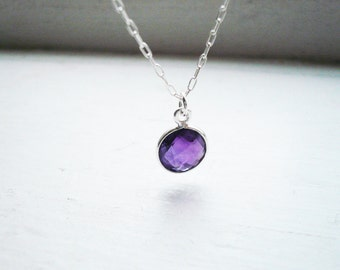 Tiny Amethyst Necklace in Sterling Silver - Dainty Everyday Bezel Gemstone and Sterling Silver Natural Purple Amethyst Necklace