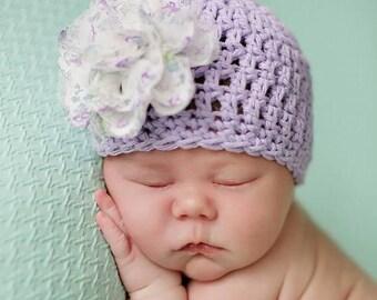 Newborn Baby Girl Hat with Flower, Purple Baby Flower Hat, Infant Flower Beanie, Baby Hospital Hat, Newborn Easter Hat,