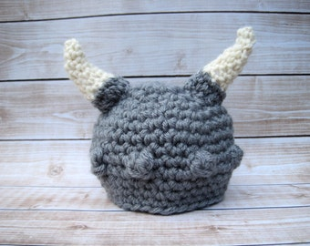 Crochet Baby Hat, Baby Viking Hat, Baby Boy Hat, Baby Girl Hat, Baby Photo Prop, Crochet Viking Hat, Baby Halloween Hat, Baby Beanie, Grey