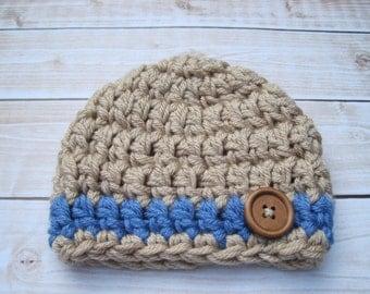 Baby Boy Hat, Newborn Boy Hat, Boy Infant Hat, Crochet Baby Hat, Crochet Newborn Hat, Baby Beanie, Boy Beanie, Newborn Boy Beanie, Tan