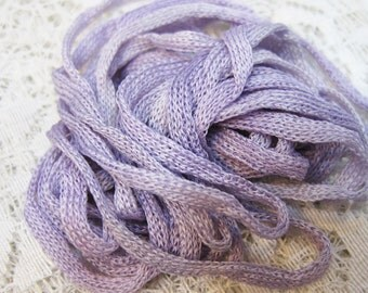2 Lilac Silk Knitted Tube Cord for Kumihimo Braiding Weaving 6 yards