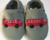 Custom Fire Truck Slippers with Grip Tight Soles (Polartec Fleece, 200 series)