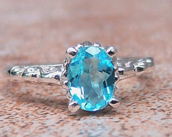 Swiss Blue Topaz, Sterling Silver Filigree Ring, Cavalier Creations