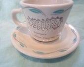 Vintage Upcycled Restaurant Ware Coffee Cup with Caterpillars-see and do many wonderful things