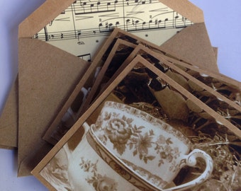 Set of Four Teacups note cards