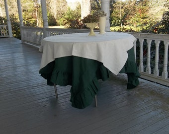 READY to SHIP Ivory Linen Topper Linen Tablecloth Table Throw Linen Overlay French Country Wedding Decor Table Decor Line Throw