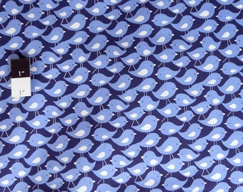 David Walker PWDW067 Get Together Flock Of Birds Navy Cotton Fabric 1 Yd