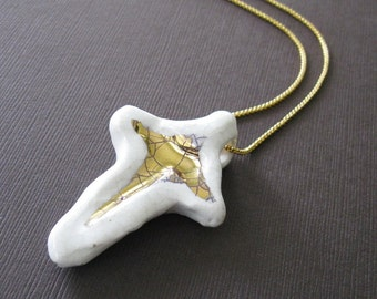Vintage Handmade Cross Necklace Porcelain Gold Cross, Sculptural Jewelry Organic Jewelry