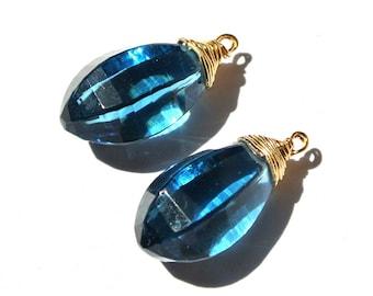 2Pcs 22kt Gold Vermeil Wire Wrapped AAA London Blue Quartz Fancy Briolette 25x12mm Wire Wrapped Dangles, Charm, Pendant