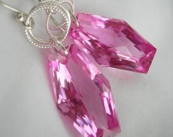 Pink Topaz AAA Luxe Gemstone Earrings Sterling Silver
