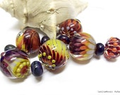 Harvest Moon Handmade Lampwork Beads By SunDoorBeads Autumn Water Flower Collection