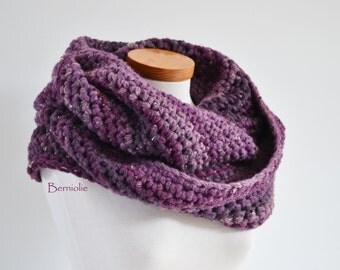 Plum, purple loop scarf, infinity scarf, crochet capelet M138