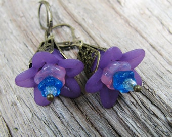 Purple Flower Earrings with Brass Filigree, Blue and Pink Accents and Crystal