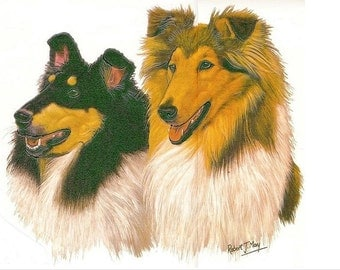 "COLLIE SABLE Two Dog Heads on One 18"" x 22"" Fabric Panel for Sewing. Actual picture is 8 x 10 inches on white background."