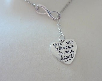 Heart Necklace, Lariat Necklace, Engraved Necklace, Infinity Necklace