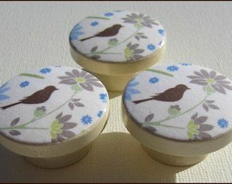 Dresser Knobs - Drawer Knobs - Vintage Floral - Birds - Drawer Pulls - Wood Knobs 1.5 Inch