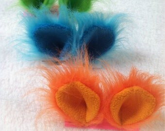 Fantasy Creature Animal Ear Snap Hair Clip Creature Features Anime Costume Cosplay Halloween Every Day Party Wear Neon Faux Fur Monster