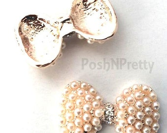 TWO 1 inch  Pearl Shiny bow metal base with Rhinestones No Shank.