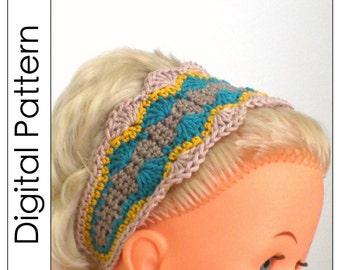 Crochet headband pattern in PDF - Seashells - pattern for adults