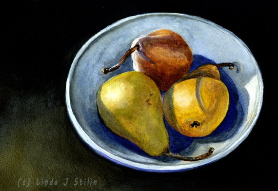 Watercolor painting, 3 Pears in a Bowl Still Life, 8 x 10 inch Giclee Fine Art Print, with mat