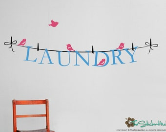 Laundry on a Line - Laundry Room - Home Decor - Removeable - Renters Decor - Vinyl Lettering - Wall Graphic Decal Sticker 1679