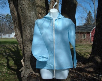 70s S M Baby Blue Windbreaker Sailing Jacket Nautical Hooded Sears USA UNWORN Vintage 1970s