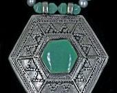 Afghani Pendant, Aventurine & Silver Pearls