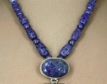 Vintage Handmade Lapis Pendant & Antique Lapis Beads - Fabulous!