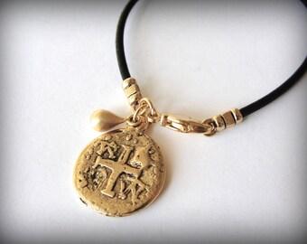 Gold Pewter Coin on Black Leather bracelet