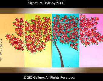 """Art painting Acrylic Painting red Flower tree wall art wall decor canvas art Palette Knife painting """"Full Bloom of Life"""" by qiqigallery"""