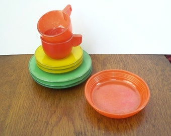 Vintage Childs Toy Doll Dishes Painted Glass