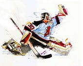 Watercolor portrait painting of New Jersey Devils Hockey  player Martin Brodeur - giclee from original