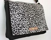 Black LEOPARD Animal MESSENGER Book Laptop iPAD Diaper BAG