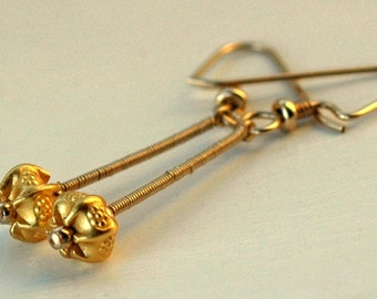 gold earrings, drop earrings, wire wrapped, 14K goldfilled, Karen Hill Tribe, vermeil beads, dangle earrings,
