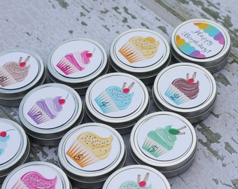 Magnetic Tin Countdown Birthday or other fun occaision with cupcakes