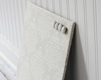 Fabric covered magnet board 12 inch x 12 inch covered in Beige Ribbon Damask Fabric