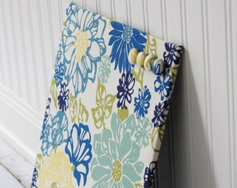 Fabric covered magnet board 12 inch x 12 inch covered in Blue and Yellow Floral Fabric