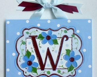 Front Door hanger, Canvas name sign, Welcome sign, Blue, Flowers, Dots, Personalized, Door sign, Family Name Art, Monogram art, Door hanger