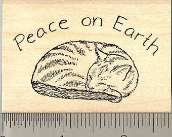 Peace Cat Rubber Stamp J6502 Wood Mounted