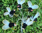 Lot 6  Vintage 70s Wire Chenille BEES Bugs Insects....#2....Millinery, Crafts, Floral