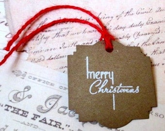 Christmas Gift Tags -  Set of 5 - Hand stamped - Kraft - Merry Christmas
