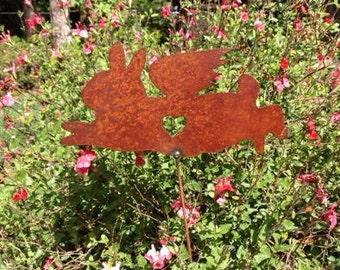 Rusty Finish Metal Garden Art Netherland Dwarf Bunny Rabbit Angel Memorial Yard Stake