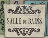 SALLE DE BAINS sign / le bain sign / French bathroom sign / bathroom in French / French bath sign / hand painted sign / la toilette sign /