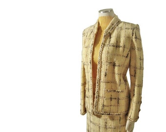 Vintage 70s Adolfo Knit Suit - Cloverleaf Buttons Abstracted Plaid Suit M / L