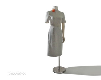 Vintage Escada 60s Style Mod Grey Wool Dress M
