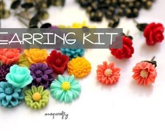 DIY EARRING KIT: make 20 pairs bright garden flower stud cab earrings! / cute resin flower cabochons + findings / parties, craft nights